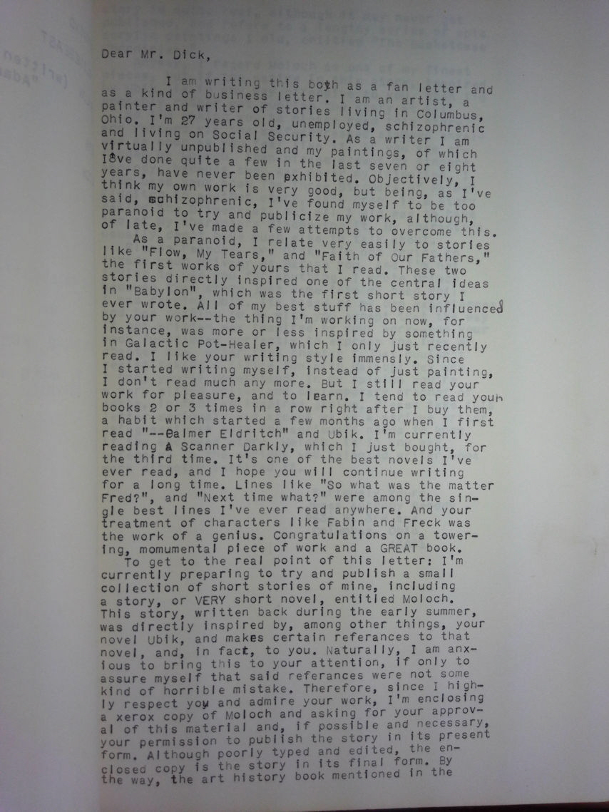Letter To Philip Dick - Page One